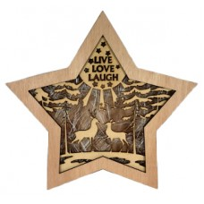 "Wooden Christmas Star ""Live Love Laugh"""