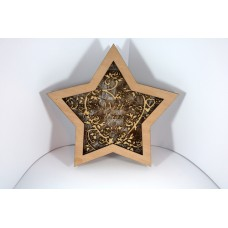 "Houten kerstster ""With Love"""