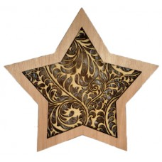 "Wooden Lightbox Star ""Leafs"""