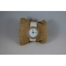 Luxury Bamboo Horloge White