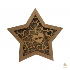 "Wooden Christmas Star ""For You"""