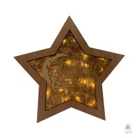 "Wooden Christmas Star ""Merry Christmas"""