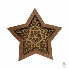 "Wooden Christmas Star ""Snow"""