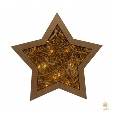 "Wooden Christmas Star ""Leafs"""