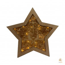 "Wooden Christmas Star ""Jesus"""
